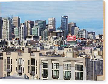 Downtown San Francisco Wood Print by Kelley King
