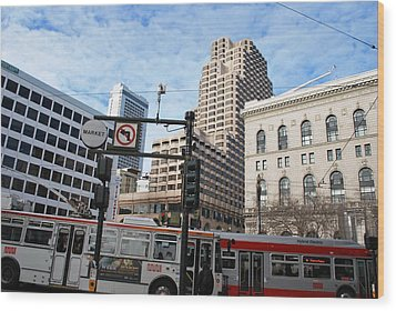 Downtown San Francisco - Market Street Buses Wood Print by Matt Harang