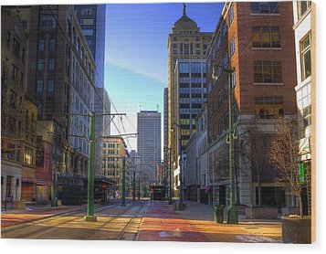 Downtown Sunday Morning In February Wood Print by Don Nieman