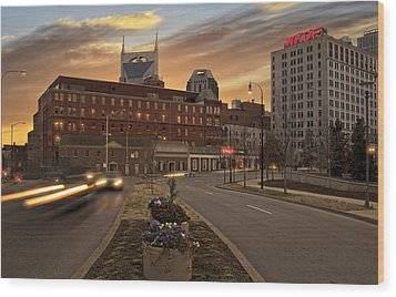 Downtown Sunset Wood Print by Steven  Michael