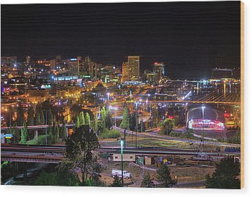 Downtown Tacoma Night Wood Print