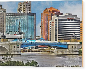 Downtown Toledo Riverfront Wood Print