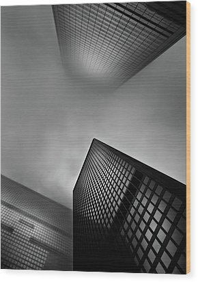 Wood Print featuring the photograph Downtown Toronto Fogfest No 1 by Brian Carson