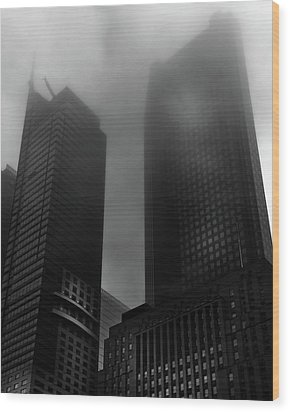 Wood Print featuring the photograph Downtown Toronto Fogfest No 2 by Brian Carson
