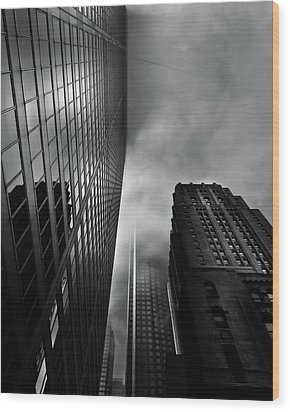 Downtown Toronto Fogfest No 4 Wood Print by Brian Carson