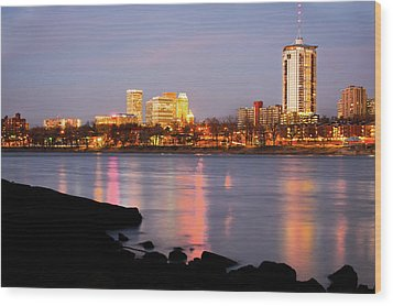 Downtown Tulsa Oklahoma - University Tower View Wood Print by Gregory Ballos