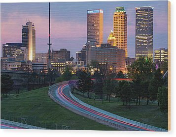 Wood Print featuring the photograph Downtown Tulsa Skyline On The Freeway  by Gregory Ballos