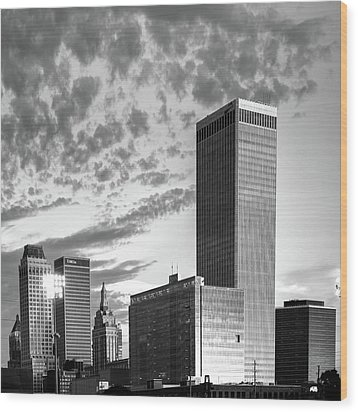 Wood Print featuring the photograph Downtown Tulsa Skyline Squared In Black And White by Gregory Ballos
