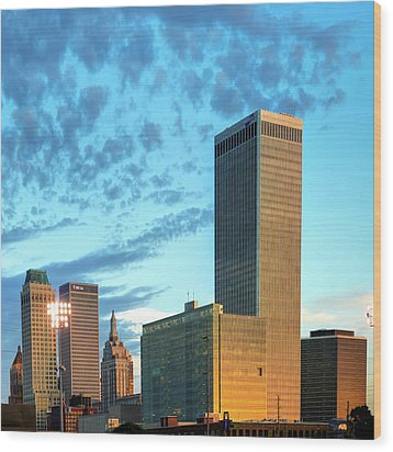 Wood Print featuring the photograph Downtown Tulsa Skyline Squared In Color by Gregory Ballos