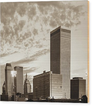 Wood Print featuring the photograph Downtown Tulsa Skyline Squared In Sepia by Gregory Ballos