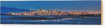 Downtown Vancouver From Spanish Banks Beach Wood Print by Alexis Birkill