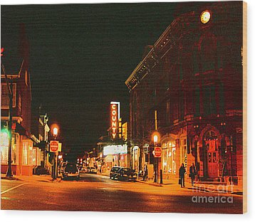Doylestown-county Theater At Night Wood Print by Addie Hocynec