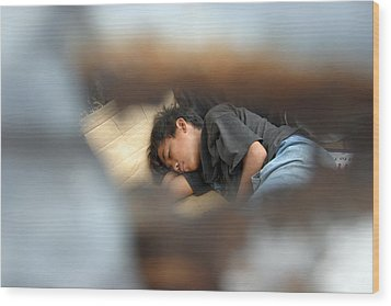 Dozing For As Long As I Can Wood Print by Jez C Self