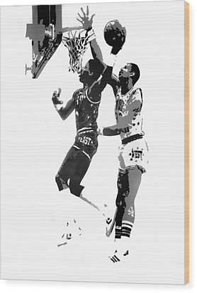 Dr. J And Kareem Wood Print by Ferrel Cordle