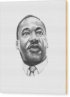 Dr. Martin Luther King Wood Print by Murphy Elliott