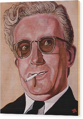 Wood Print featuring the painting Dr Strangelove 2 by Tom Roderick