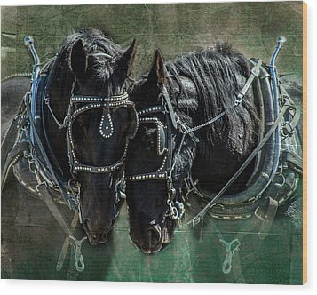 Wood Print featuring the photograph Draft Horses by Mary Hone