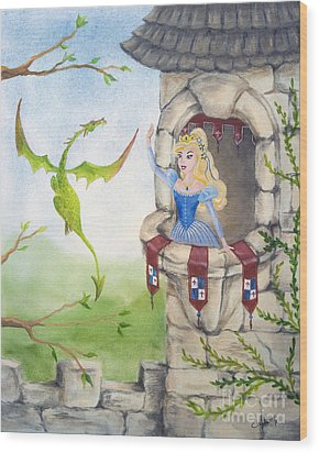 Dragon Above The Castle Wall Wood Print by Cathy Cleveland