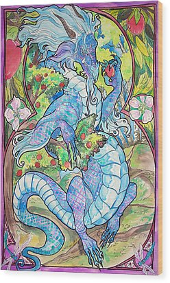 Wood Print featuring the painting Dragon Apples by Jenn Cunningham