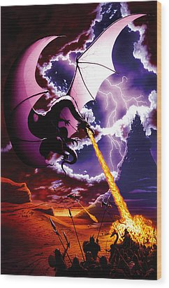 Dragon Attack Wood Print by The Dragon Chronicles - Steve Re