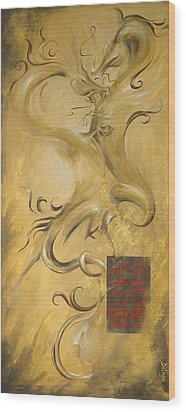 Dragon Double Happiness Wood Print by Dina Dargo