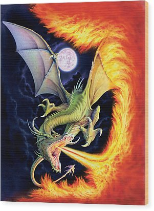 Dragon Fire Wood Print by The Dragon Chronicles