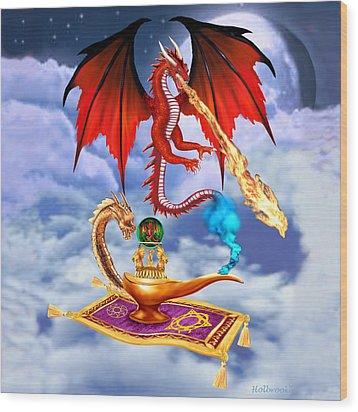Dragon Genie Wood Print by Glenn Holbrook