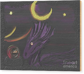 Wood Print featuring the painting Dragon Night by Roxy Riou