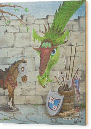 Dragon Over The Castle Wall Wood Print by Cathy Cleveland