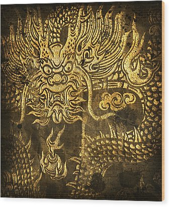 Dragon Pattern Wood Print by Setsiri Silapasuwanchai