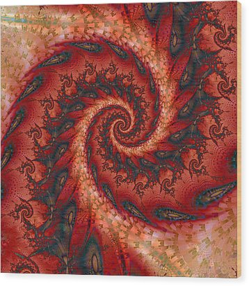 Wood Print featuring the digital art Dragon Tail Spiral by Richard Ortolano