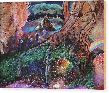Dragon Under The Hill Wood Print by Jane Tripp