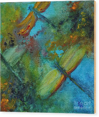 Dragonflies Wood Print by Karen Fleschler