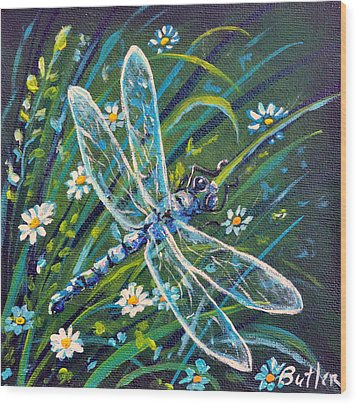 Dragonfly And Daisies Wood Print