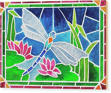 Dragonfly And Water Lilies In Stained Glass 2 Wood Print by Janis Grau