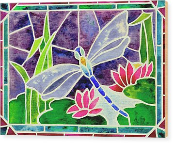 Dragonfly And Water Lily In Stained Glass Wood Print by Janis Grau
