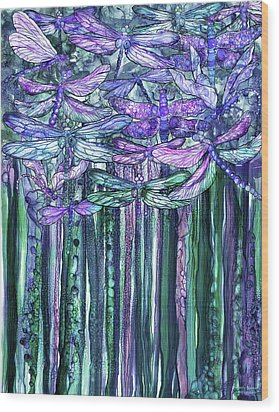 Wood Print featuring the mixed media Dragonfly Bloomies 1 - Lavender Teal by Carol Cavalaris
