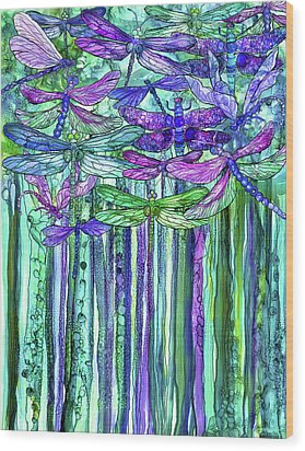 Wood Print featuring the mixed media Dragonfly Bloomies 1 - Purple by Carol Cavalaris