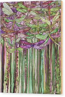 Wood Print featuring the mixed media Dragonfly Bloomies 1 - Pink by Carol Cavalaris