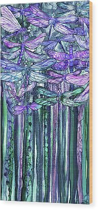 Wood Print featuring the mixed media Dragonfly Bloomies 2 - Lavender Teal by Carol Cavalaris