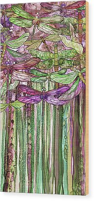 Wood Print featuring the mixed media Dragonfly Bloomies 2 - Pink by Carol Cavalaris