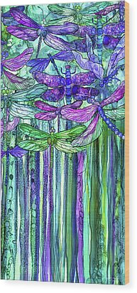 Wood Print featuring the mixed media Dragonfly Bloomies 2 - Purple by Carol Cavalaris