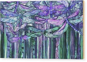 Dragonfly Bloomies 3 - Lavender Teal Wood Print by Carol Cavalaris