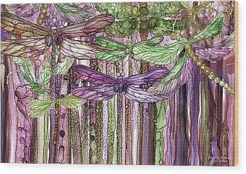 Dragonfly Bloomies 3 - Pink Wood Print by Carol Cavalaris