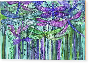 Wood Print featuring the mixed media Dragonfly Bloomies 3 - Purple by Carol Cavalaris