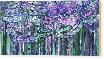 Wood Print featuring the mixed media Dragonfly Bloomies 4 - Lavender Teal by Carol Cavalaris