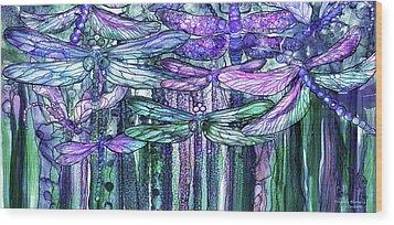 Dragonfly Bloomies 4 - Lavender Teal Wood Print by Carol Cavalaris