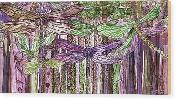 Wood Print featuring the mixed media Dragonfly Bloomies 4 - Pink by Carol Cavalaris