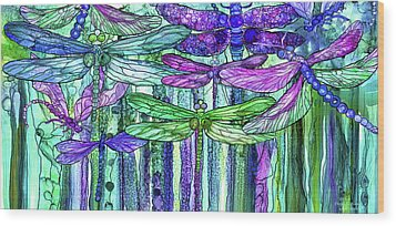 Wood Print featuring the mixed media Dragonfly Bloomies 4 - Purple by Carol Cavalaris
