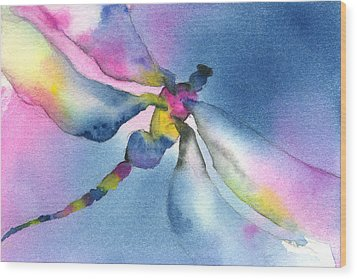 Dragonfly Blues Wood Print by Gladys Folkers